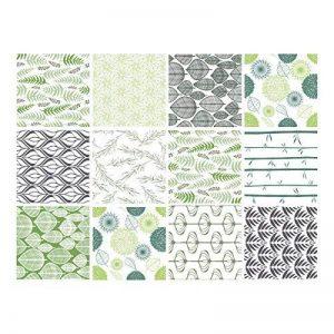Adhésif carrelage - Sticker carreaux de ciment - Autocollant - Décoration - Natur Green (Vert, Vert Clair, Vert Foncé, Gris, Blanc) - 12 pièces (15 x 15 cm) de la marque Adzif image 0 produit