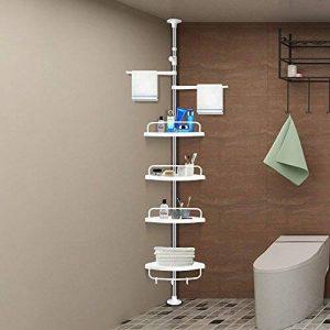 Aerobath à 4 étages étagère réglable Organiseur de salle de bain étagère d'angle de douche Caddy Nail-free robuste en acier inoxydable antirouille (120 cm-310 cm) de la marque Aerobath image 0 produit