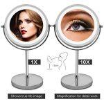 AMZTOLIFE 1x & 10x Miroir grossissant Lumineux - Miroir cosmétique portatif Argent 360 ° Réglable de la marque AMZTOLIFE image 2 produit