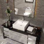 Anaelle Pandamoto Lavabo Vasque à poser en Céramique sur Salle du bain, Taille: 38 x 32 x 12cm, Poids: 5kg, Blanc de la marque Panana image 2 produit