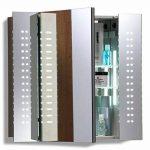 Armoire de toilette pour salle de bain avec miroir lumineux, antibuée, prise pour rasoir, détecteur de mouvement et éclairage LED 60cm(H) x 65cm(l) x 12cm(P) C19 de la marque Neue Design image 1 produit