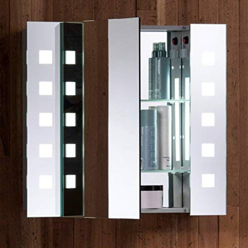 Armoire De Toilette Pour Salle Bain Avec Miroir Lumineux Antibue Prise Rasoir Dtecteur Mouvement Et Clairage LED 60cmH X 65cml
