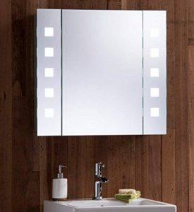 Armoire de toilette pour salle de bain avec miroir lumineux, antibuée, prise pour rasoir, détecteur de mouvement et éclairage LED 60cm(H) x 65cm(l) x 12cm(P) C20 de la marque Neue Design image 0 produit