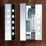 Armoire de toilette pour salle de bain avec miroir lumineux, antibuée, prise pour rasoir, détecteur de mouvement et éclairage LED 60cm(H) x 65cm(l) x 12cm(P) C20 de la marque Neue Design image 1 produit
