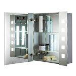 Armoire de toilette pour salle de bain avec miroir lumineux, antibuée, prise pour rasoir, détecteur de mouvement et éclairage LED 60cm(H) x 65cm(l) x 12cm(P) C20 de la marque Neue Design image 2 produit