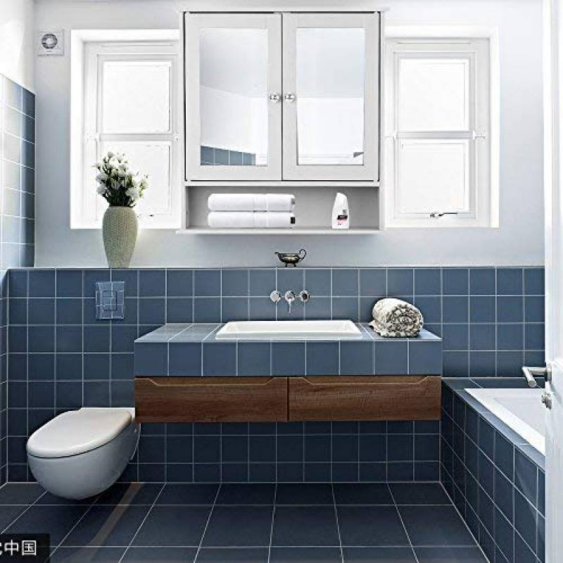 IKAYAA Armoire De Toilettes Salle Bains Murale Miroirs Bain 2 Portes 3 Etageres Meubles Cabinet Mur 56 X 13 58