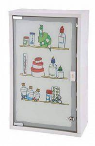 Bagnoxx Armoire a pharmacie avec porte vitree et imprime, trousse de premier secours Blanc STK de la marque Bagnoxx image 0 produit