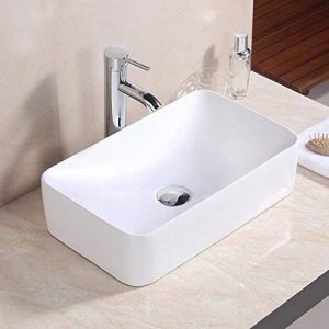 Basong Vasque à Poser En Céramique Moderne Lavabo Lave-Mains Salle de Bain WC Rectangle Blanc de la marque Basong image 0 produit