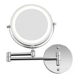 BATHWA Miroirs de Maquillage Mural LED à deux côtés de Charge par Batterie, 360 ° Horizontal Pivotant et Vertical, Métal en Chromé Loupe 5x et Miroir Plane Ordinaire de la marque BATHWA image 0 produit