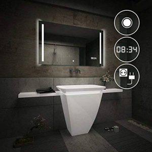 Beau Miroir Salle De Bain Lumineux LED Interrupteur tactile + LED Horloge + Prise électrique de la marque FORAM image 0 produit