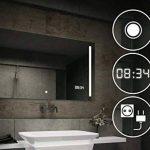 Beau Miroir Salle De Bain Lumineux LED Interrupteur tactile + LED Horloge + Prise électrique de la marque FORAM image 3 produit