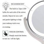 Bestaid Miroir grossissant avec éclairage lumineux Miroir à LED de table Cosmétique Miroir double face 1x/10x sans fil à piles 360Rotation de la marque Bestaid image 3 produit