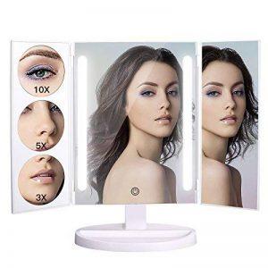 Bestope Miroir Maquillage Avec 1x/3x/5x/10x Grossissement LED Lumineux Naturel, Rotation 360° Trifold Miroir Cosmétique de Table,UV de Protection,Alimentation avec USB et Batteries (non inclus) de la marque BESTOPE image 0 produit