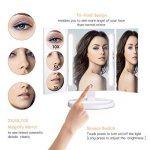 Bestope Miroir Maquillage Avec 1x/3x/5x/10x Grossissement LED Lumineux Naturel, Rotation 360° Trifold Miroir Cosmétique de Table,UV de Protection,Alimentation avec USB et Batteries (non inclus) de la marque BESTOPE image 2 produit