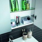 Cygnus Bath SCHWAN - Armoire avec miroir pour salle de bains, suspendu, 80 cm, munie de 2 portes à fermeture amortie, étagères en verre, prise et interrupteur à l'intérieur, finition blanc de la marque image 2 produit