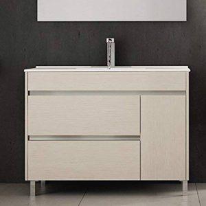 Ducha.es Hémera Ensemble de salle de bain avec meuble et plan vasque en céramique 100cm Crème de la marque Ducha.es image 0 produit