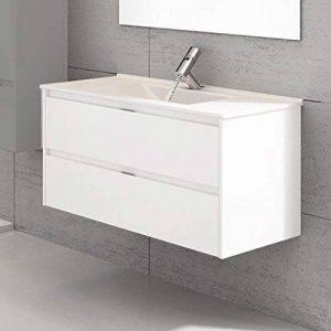 Ducha.es Mízar Ensemble de salle de bain avec meuble et plan vasque en céramique 120cm Blanc brillant de la marque Ducha.es image 0 produit