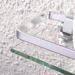 Eacute tage gravere en verre de salle de bain avec rail en aluminium et verre tremp - KES - de douche rectangulaire style contemporain - Fixation murale, argent, A4126A de la marque KES image 3 produit