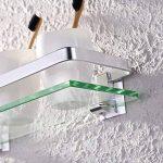 Eacute tage gravere en verre de salle de bain avec rail en aluminium et verre tremp - KES - de douche rectangulaire style contemporain - Fixation murale, argent, A4126A de la marque KES image 4 produit