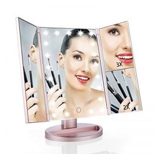 Easehold miroir de maquillage avec éclairage, miroir cosmétique, écran tactile, sur pied, modes d'agrandissement 1x, 2x, 3x, miroir avec 21LED, éclairage pliable, basculant à 180°, fonctionnement sur piles et rechargement par USB, couleur or rose de l image 0 produit
