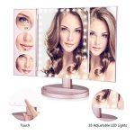EASEHOLD Miroir de Maquillage triptyque à Grands Panneaux avec éclairage 35Lampes LED Miroir grossissant éclairé (1x / 3X /5X /10x) Rose doré de la marque EASEHOLD image 2 produit