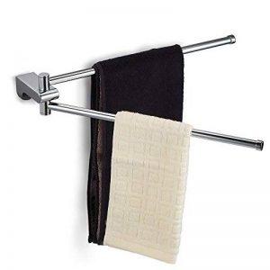 Ecooe Rails de serviette pour cuisine et salle de bain Porte-serviettes en cuivre 3,5 x 7 x 43 cm Porte-serviettes mural avec 2 bras crochets finition chromée de la marque ecooe image 0 produit