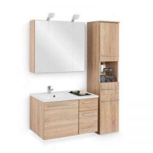 Ensemble de mobilier de salle de bain avec lavabo Armoire haute armoire à miroir armoire ÉCLAIRAGE Meuble 80cm Salle de bains complet Chêne brut de sciage de la marque Galdem® image 0 produit