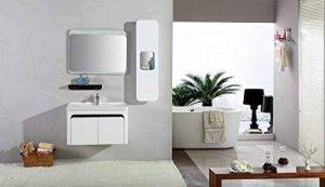 Espace-Insell Ensemble Salle de Bain Simple Vasque Blanc laqué 78 cm - AVA Blanc - Miroir - 1 Colonne - Etagère - Meuble sous Vasque de la marque Espace-Insell image 0 produit