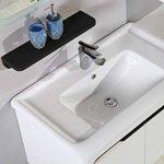 Espace-Insell Ensemble Salle de Bain Simple Vasque Blanc laqué 78 cm - AVA Blanc - Miroir - 1 Colonne - Etagère - Meuble sous Vasque de la marque Espace-Insell image 1 produit