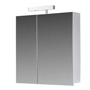 Eurosan Berlin, B60 armoire de toilette à miroir, avec applique halogène, 2 portes, 60 x 62 cm (largeur x hauteur), coloris blanc de la marque Eurosan image 0 produit