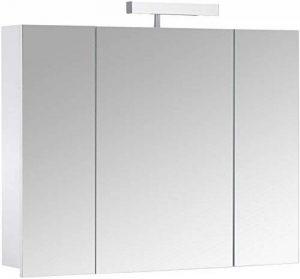 Eurosan Berlin, B80 armoire de toilette à miroir, avec applique halogène, 3 portes, 80 x 62 cm (largeur x hauteur), coloris blanc de la marque Eurosan image 0 produit