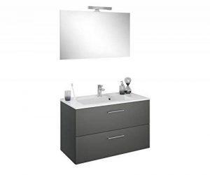 Experts du Bain, Meuble de Rangement Salle de Bain à tiroirs, Gris foncé, Simple Vasque 90 cm Miroir, éclairage mitigeur de la marque Experts du Bain image 0 produit