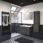 Experts du Bain, Meuble de Rangement Salle de Bain à tiroirs, Gris foncé, Simple Vasque 90 cm Miroir, éclairage mitigeur de la marque Experts du Bain image 1 produit