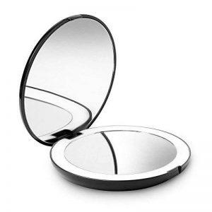 Fancii LED Miroir de Poche Lumineux, Grossissant 1x / 10x - Grand Miroir à Main de Maquillage avec Éclairage Naturel, 12,7 cm de Diamètre, Compact et Portable pour Voyage de la marque Fancii image 0 produit