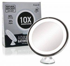 Fancii Miroir de Maquillage Grossissant 10X Lumineux avec Ventouse - Miroir de Voyage avec Lumières LED Dimmable, Pliable, 20 cm de Largeur, Rotation à 360° et Fonctionnant sur batterie de la marque Fancii image 0 produit