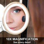 Fancii Miroir de Maquillage Grossissant 10X Lumineux avec Ventouse - Miroir de Voyage avec Lumières LED Dimmable, Pliable, 20 cm de Largeur, Rotation à 360° et Fonctionnant sur batterie de la marque Fancii image 3 produit