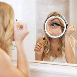 Fancii Miroir Maquillage Grossissant 7x Lumineux à Ventouse avec 20 Lumières LED Naturelles, Verrouillage Ventouse, Miroir Cosmétique de Voyage Sans Fil, Rotation à 360° et Fonctionnant sur batterie de la marque Fancii image 3 produit
