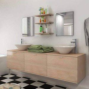 Festnight Lavabo Vasque salle de bains Armoire mural de lavabo À Poser Évier Design , Miroirs Robinets Beige de la marque Festnight image 0 produit