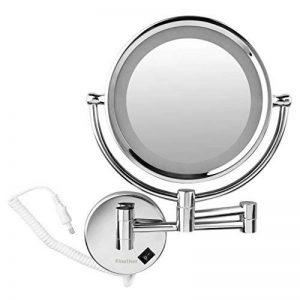 Finether 8.5 Pouces Miroir de Maquillage 10x Grossissant Lumineux LED Miroir Rotation 360 Degrés Pour Salle de Bains Cosmétique et Soin de Peau de la marque Finether image 0 produit