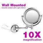 Finether 8.5 Pouces Miroir de Maquillage 10x Grossissant Lumineux LED Miroir Rotation 360 Degrés Pour Salle de Bains Cosmétique et Soin de Peau de la marque Finether image 4 produit