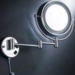 Finether Miroir Mural Double Face LED Miroir Cosmétique 7 Fois Miroirs de Maquillage Salle de Bain, Pliant, Rotation 360 Degrés, Laiton et Chromé 21.5 cm de la marque Finether image 4 produit