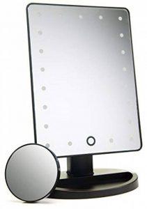 Fit Nation Miroir de maquillage rectangulaire de table 21LED–Luminosité réglable pour maquillage professionnel–Pivotant jusqu'à 180°–Miroir grossissant x10 avec ventouse incluse–Idéal pour salle de bain et console de la marque Fit Nation image 0 produit