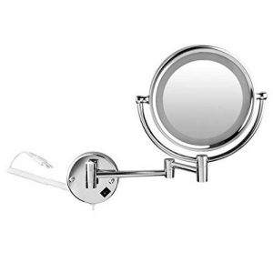 FLOUREON 8,5 Pouces LED Miroir Mural Grossissant X10 Lumineux Extension Pliant - 360 Degrés Rotation de la marque FLOUREON image 0 produit