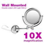 FLOUREON 8,5 Pouces LED Miroir Mural Grossissant X10 Lumineux Extension Pliant - 360 Degrés Rotation de la marque FLOUREON image 1 produit