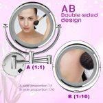 FLOUREON 8,5 Pouces LED Miroir Mural Grossissant X10 Lumineux Extension Pliant - 360 Degrés Rotation de la marque FLOUREON image 3 produit