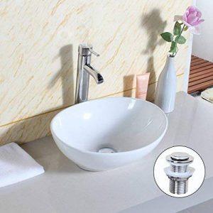 Gimify Vasque à poser Ovale en Céramique Moderne avec Bonde de Lavabo Meuble de Salle de Bain Blanche de la marque Gimify image 0 produit
