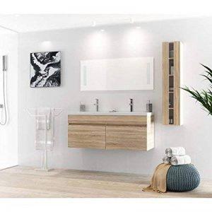 Générique Alban Salle de Bain Complete Double Vasque 120 cm - décor Bois Naturel de la marque Générique image 0 produit
