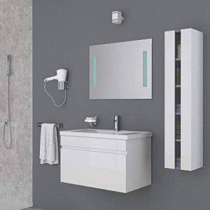 Générique ALBAN Salle de Bain Complete Simple Vasque 80 cm - Laqué Blanc Brillant de la marque Générique image 0 produit