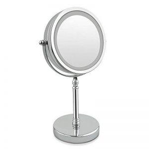 Grossissant miroir, table grossissant x10 7-inch miroir de maquillage LED-recto verso, éclairé 10x ou 1x grossissement (10x) de la marque eLim image 0 produit