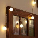 Guirlande Lumineuse Décorative 10 Mini Ampoules Rondes Opaques Finition Culot Argenté - Éclairage à LED à Piles - avec Minuteur On/Off Auto - 1,50 Mètre de la marque Festive Lights image 1 produit